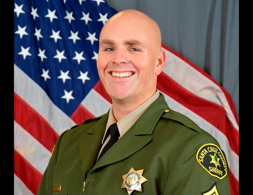 This photo provided by the Santa Cruz County Sheriff's Office shows Sgt. Damon Gutzwiller, who was shot and killed Saturday, June 6, 2020, in Ben Lomond, an unincorporated area near Santa Cruz, Calif., when he and two other law enforcement officers were ambushed by a suspect. (Santa Cruz County Sheriff's Office via AP)