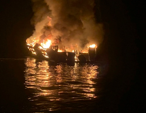 A dive boat is engulfed in flames off the Southern California Coast on Labor Day. (Santa Barbara County Fire Department via AP)
