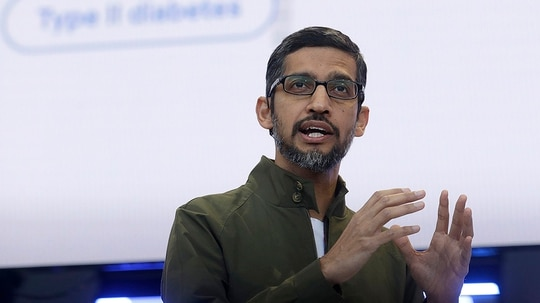 In this May 8, 2018, file photo, Google CEO Sundar Pichai speaks at the Google I/O conference in Mountain View, Calif. Google pledges that it will not use artificial intelligence in applications related to weapons or surveillance, part of a new set of principles designed to govern how it uses AI. Those principles, released by Pichai, commit Google to building AI applications that are