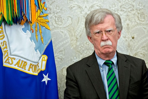 John Bolton, national security adviser, listens during a meeting with U.S. President Donald Trump and Jens Stoltenberg, NATO secretary general, not pictured, in the Oval Office on May 17, 2018, in Washington. (Andrew Harrer/Pool via Getty Images)