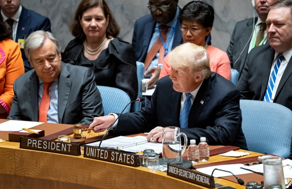 President Donald Trump pounds a gavel before addressing the United Nations Security Council during the 73rd session of the United Nations General Assembly, at U.N. headquarters, Wednesday, Sept. 26, 2018. (Craig Ruttle/AP)
