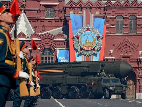 A Russian Topol-M intercontinental ballistic missile launcher drives at the Red Square in Moscow, on May 9, 2014, during a Victory Day parade. (Kirill Kudraytsev/AFP via Getty Images)