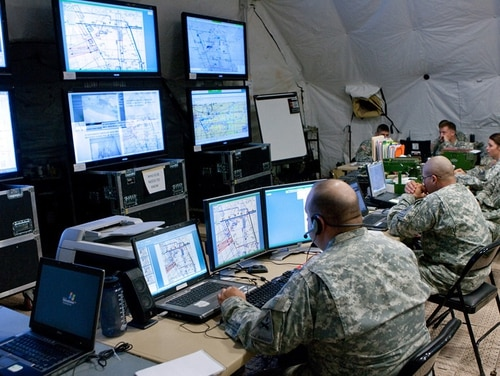 The Army has procured Twisted SolutionsÕ WAVE software to unify voice communications between VoIP devices in the field and at command posts, such as the workstations in the pictured operations center.