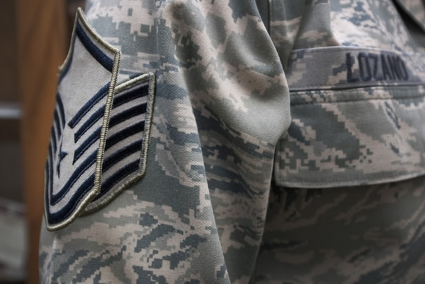 Master sergeant stripes are pinned on a newly promoted technical sergeant. The Air Force Personnel Center said 6,176 tech sergeants have been selected for promotion to E-7 ― the most since 2011. (Tech. Sgt. Mike Meares/Air Force)