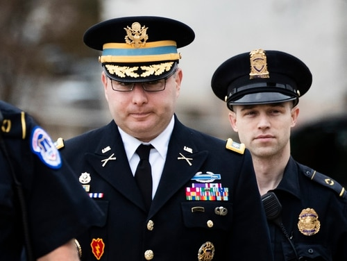 Army Lt Col. Alexander Vindman, a military officer at the National Security Council, center, arrives on Capitol Hill in Washington, Tuesday, Oct. 29, 2019, to testify before a House committee as part of the impeachment inquiry into President Donald Trump. (Manuel Balce Ceneta/AP)