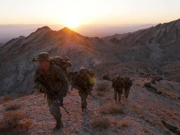 Marines participate in an exercise during Infantry Officers Course class 4-17 at Marine Corps Air Ground Combat Center Twentynine Palms, California, Sept. 18, 2017. (Sgt. Gregory Boyd/Marine Corps)
