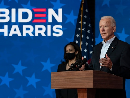 President-elect Joe Biden and vice president-elect Kamala Harris spoke during a national address from the Queen Theater in Wilmington, Del., on Nov. 5, 2020. (Carolyn Kaster/AP)
