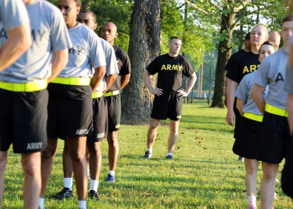 Sergeant Major of the Army Dan Dailey conducts PT with soldiers at Redstone Arsenal in May.