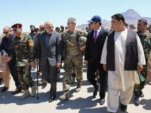 Gen. John Nicholson, commander of Resolute Support, visited community and military leaders in Farah on May 19, 2018, after Afghan National Defense and Security Forces defeated a major Taliban offensive here this week. (Lt. Alex Cornell du Houx/NATO)