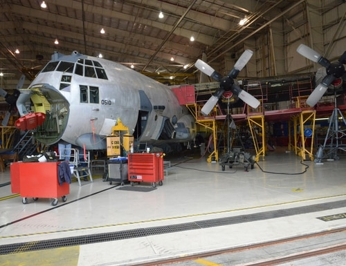 A C-130 undergoes depot overhaul at Robins Air Force Base, Ga. The Warner Robins Air Logistics Complex performs depot maintenance for C-130 variants operated by the U.S. Air Force, Navy and Marine Corps. (Geoff Janes/U.S. Air Force)
