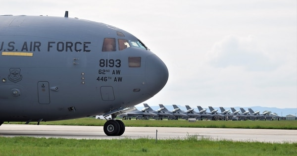 A C-17 Globemaster III with the 62nd Airlift Wing, Joint Base Lewis-McChord, Wash., delivers support equipment for Theater Security Package 19.1, at Campia Turzii, Romania, May 8. (1st Lt. Andrew Layton/Air Force).