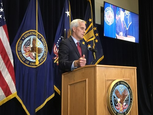 Veterans Affairs Secretary Denis McDonough speaks to reporters during a press event on June 30 at the department's headquarters in Washington, D.C. (Leo Shane III/Staff)