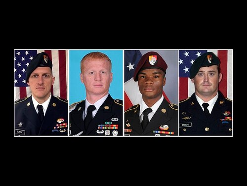 These images provided by the U.S. Army show, from left, Staff Sgt. Bryan C. Black, 35, of Puyallup, Wash.; Staff Sgt. Jeremiah W. Johnson, 39, of Springboro, Ohio; Sgt. La David Johnson of Miami Gardens, Fla.; and Staff Sgt. Dustin M. Wright, 29, of Lyons, Ga. All four were killed in Niger, when a joint patrol of American and Niger forces was ambushed by militants believed linked to the Islamic State group. (Army)