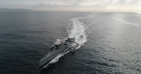 The Sea Hunter, developed by DARPA, has launched the Navy down a path of developing a fleet of unmanned ships that could upend the way the Navy has fought since the Cold War. (U.S. Defense Advanced Research Projects Agency)