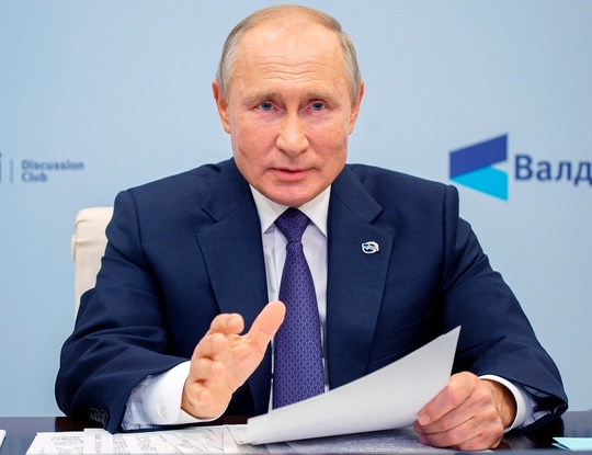 Russian President Vladimir Putin speaks as he participates in the annual meeting of the Valdai Discussion Club via video conference at the Novo-Ogaryovo residence outside Moscow on Oct. 22, 2020. (Alexei Druzhinin/Sputnik, Kremlin Pool Photo via AP)
