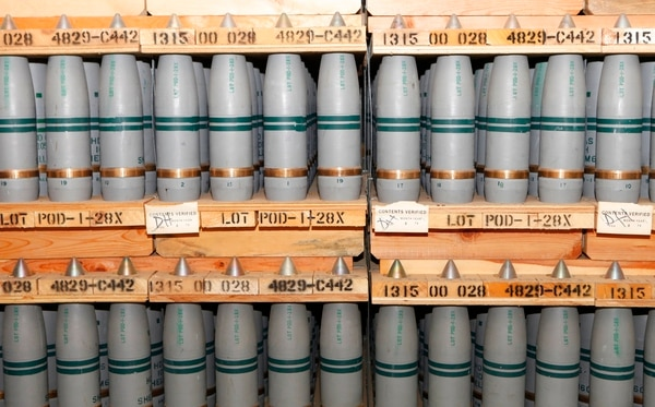 This Jan. 21, 2010, file photo, shows 105mm shells containing mustard agent that are stored in a bunker at the Army's Pueblo Chemical Storage facility in Pueblo, Colo. (Ed Andrieski/AP)