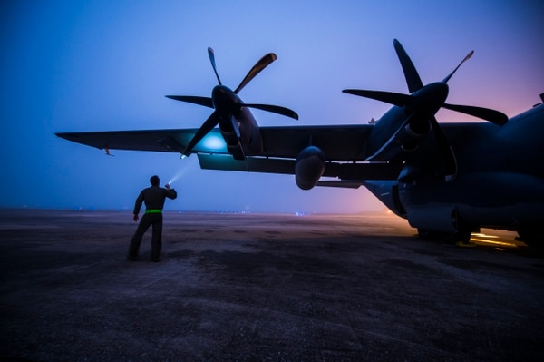 Staff Sgt. Derek Watson, a special missions aviator with the 1st Special Operations Group Detachment 2, inspects a wing of an AC-130J Ghostrider during a pre-flight inspection at Hurlburt Field, Fla., Feb. 2, 2016. Special mission aviators have multiple integral roles and monitor all functions for the aircraft, even providing weapon defense when necessary. (U.S. Air Force photo by Staff Sgt. Christopher Callaway)