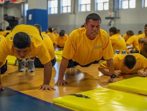 What doesn't kill you makes you a sailor. Two recruits struggle to complete their push-ups during the final physical fitness assessment of boot camp. Recruits must pass in order to graduate. (Mark D. Faram/Staff)