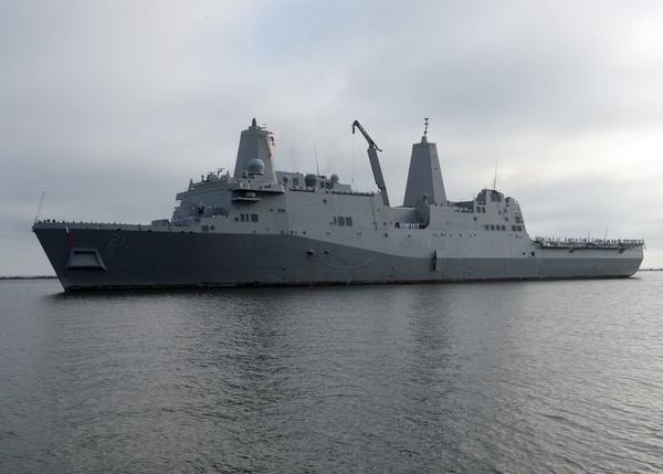 The amphibious transport dock ship USS New York (LPD 21) arrives at its homeport at Naval Station Mayport on July 19, 2015, after completing a seven-month deployment. New York, along with the amphibious assault ship Iwo Jima are being readied for possible tasking in the wake of Hurricane Irma (MC3 Mark Andrew Hays/Navy)
