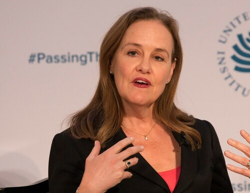 Michele Flournoy, president of the Center for a New American Security, speaks during a conference at the U.S. Institute of Peace in Washington on Jan. 10, 2017. (Chris Kleponis/AFP via Getty Images)