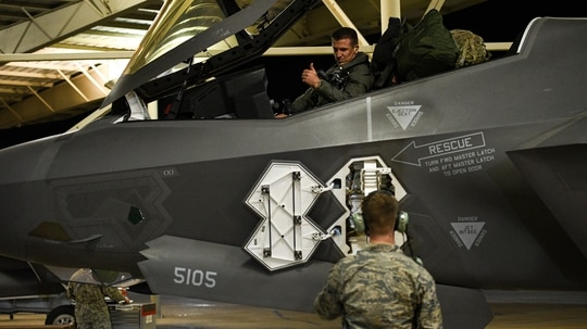 Deploying pilots with the 388th and 419th Fighter Wings prepare for launch at Hill Air Force Base, Utah, May 20, 2020. Airmen from the 388th and 419th Fighter Wings have deployed F-35As into combat three times in 12 months. (R. Nial Bradshaw/Air Force)