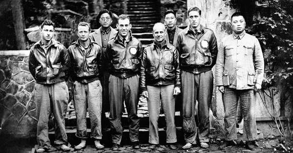 Maj. Gen. James H. Doolittle, his Tokyo bombing crew and some Chinese friends are pictured in China on April 22, 1943, after the U.S. airmen bailed out following the raid at Japan on April 18, 1942. (AP)