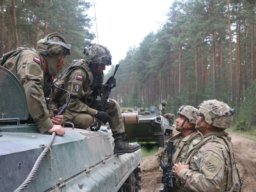 Polish ally soldiers conduct a security halt with 3rd Infantry Division soldiers at a checkpoint. (Sgt. Raymundo Prado/Army)