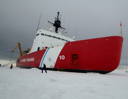 The Coast Guard envisions new communications standards for its next generation of icebreakers. The Cutter Polar Star, a high-endurance icebreaker home-ported in Seattle, sits on the ice in the Ross Sea near Antarctica while underway in support of Operation Deep Freeze 2015. (Petty Officer 1st Class George Degener/Coast Guard)