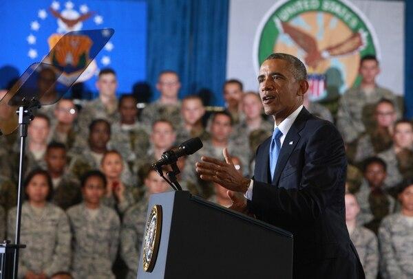 Former President Barack Obama addresses troops at McDill Air Force Base, Fla., in September 2014.