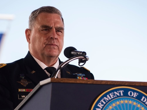 Gen. Mark Milley, the chairman of the Joint Chiefs of Staff, delivers remarks during the change-of-command ceremony for U.S. Indo-Pacific Command on April 30, 2021, at Joint Base Pearl Harbor. (MC2 Anthony J. Rivera/Navy)