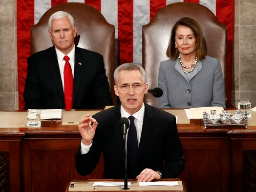 NATO Secretary-General Jens Stoltenberg, as Vice President Mike Pence and House Speaker Nancy Pelosi look on, addresses a joint meeting of Congress on Capitol Hill in Washington, Wednesday, April 3, 2019. (Patrick Semansky/AP)