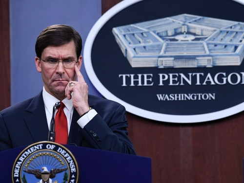 Defense Secretary Mark Esper listens during a news conference with South Korean National Defense Minister Jeong Kyeong-doo at Pentagon in Washington, Monday, Feb. 24, 2020. (Susan Walsh/AP)