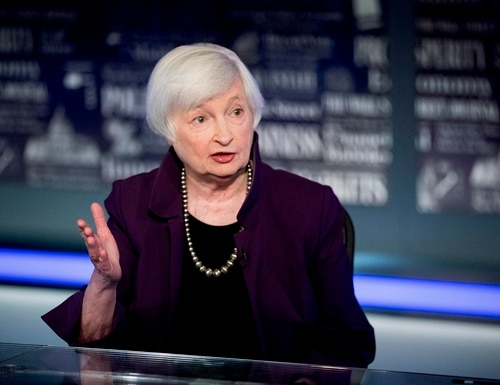 In this Aug. 14, 2019, file photo former Fed Chair Janet Yellen speaks with FOX Business Network guest anchor Jon Hilsenrath in the Fox Washington bureau in Washington. (Andrew Harnik/AP)
