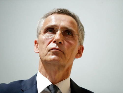 Jens Stoltenberg, the secretary general of NATO, listens to a question after delivering a pre-NATO summit speech at Lancaster House in London, Thursday, June 21, 2018. The secretary general of NATO says bonds between Europe and North America have weakened, and he appealed for an international effort to shore up the trans-Atlantic military alliance. (Matt Dunham/AP)