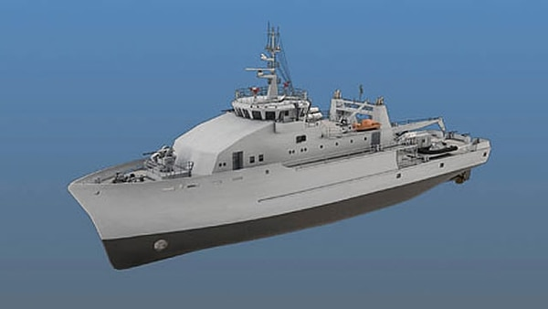 A rendering of the Iraqi Navy's offshore support vessel, which the Navy has indicated could be the basis of its large unmanned surface vessel design. (Riverhawk Fast Sea Frames)