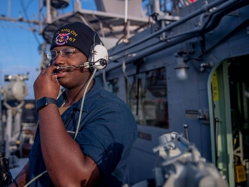 Seaman Marshall Key reports contact during a Thursday transit of the Taiwan Strait on board the Ticonderoga-class guided-missile cruiser Shiloh. (Mass Communication Specialist 3rd Class Chanel L. Turner/Navy)