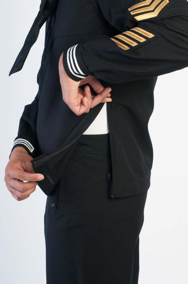 The new Navy Service Dress Blues photographed in Springfield, Virginia on May 24, 2012. (Alan Lessig/Staff)