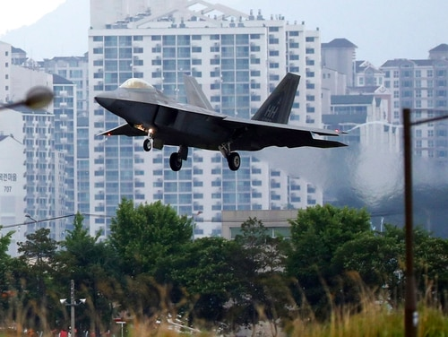 A U.S. F-22 Raptor lands as South Korea and the United States conduct the Max Thunder joint military exercise at an air base in Gwangju, South Korea. (Park Chul-hog/Yonhap via AP)