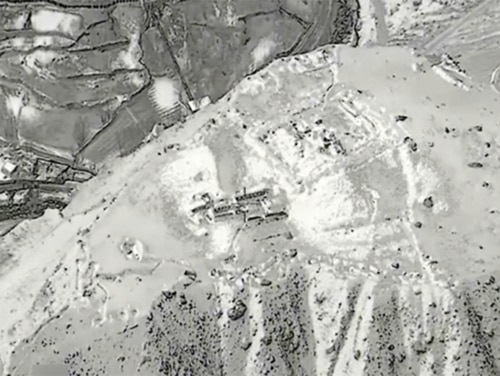 Image from an Air Force video depicting a B-52's airstrike on a Taliban training camp, Feb. 4, 2018 (Air Force)