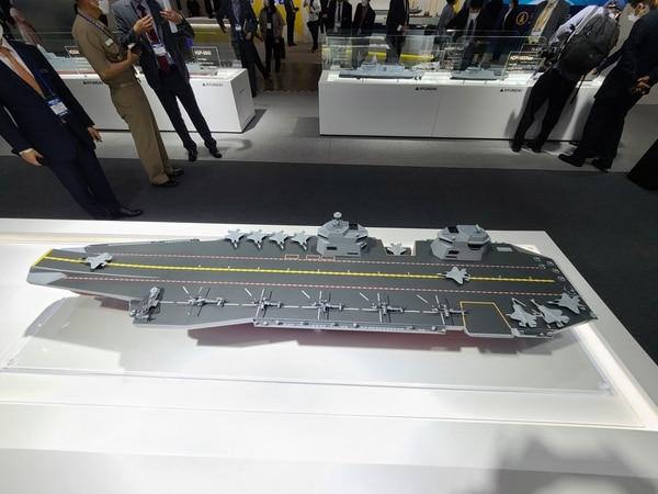 Hyundai Heavy Industries' proposed aircraft carrier design. (Brian Kim/Staff)