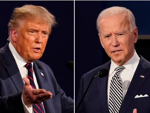 President Donald Trump, left, and former Vice President Joe Biden during the first presidential debate at Case Western University and Cleveland Clinic, in Cleveland, Ohio. (Patrick Semansky/AP)