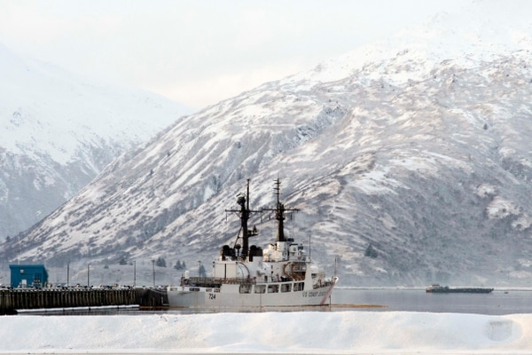 The Coast Guard Cutter Munro moored at the docks of Base Kodiak, Alaska, Jan. 27, 2015. The 378-foot cutter is named after the only Coast Guard Medal of Honor recipient, Signalman 1st Class Douglas Munro, and missions include maritime law enforcement, search and rescue, and homeland defense. (U.S. Coast Guard photo by Petty Officer 1st Class Kelly Parker)