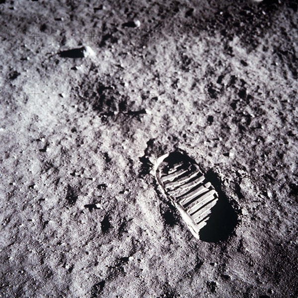 One of the first steps taken on the Moon, this is an image of Buzz Aldrin's bootprint from the Apollo 11 mission. (NASA)