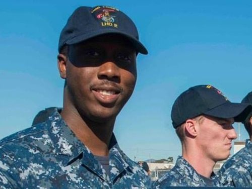 Air Traffic Controller 2nd Class Russell A. Blake on Nov. 29, 2016, when he was assigned to the amphibious assault ship Essex. (Navy)
