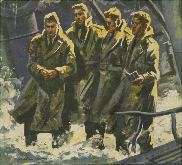 Lt. George Fox, Lt. Alexander Goode, Lt. John Washington and Lt. Clark Poling tended to their fellow servicemen when the U.S. Army Transport Dorchester was struck by a German submarine, Feb. 3, 1943.(Courtesy graphic)