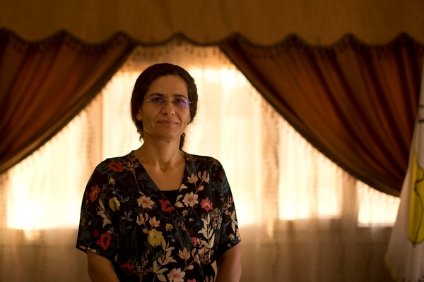 In this Sept. 3, 2019, photo, Ilham Ahmed, co-chair of the executive committee of the U.S-backed Syrian Democratic Council, speaks during an interview in Darbasiyah, Syria. (Maya Alleruzzo/AP)