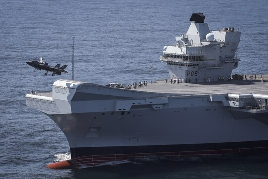An F-35 takes off from the British Royal Navy aircraft carrier Queen Elizabeth. (Dane Wiedmann/Lockheed Martin)