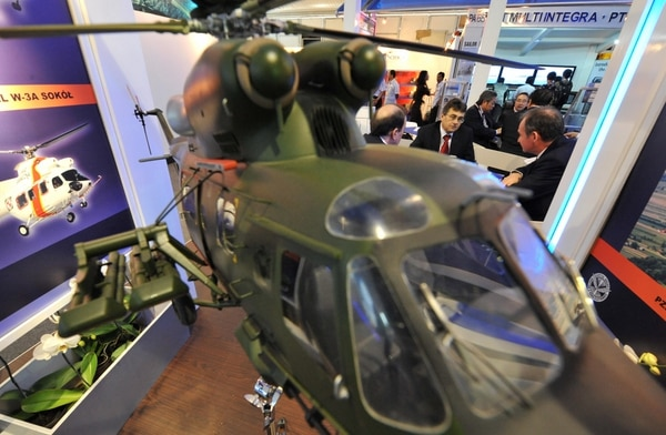 Poland wants to replace its Air Force's outdated Mil Mi-2 and W-3 Sokol helicopters. A model of the latter is shown in 2008 at the Indo Aeropace Expo & Forum in Jakarta, Indonesia. (Bay Ismoyo/AFP via Getty Images)