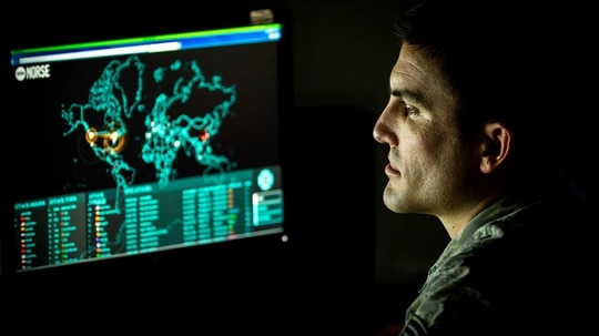Cyber Command's ongoing operations include Joint Task Force Ares, the cyber efforts aimed to counter ISIS. (J.M. Eddins Jr./Air Force)