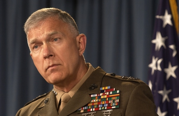 Lt. Gen. James Conway, Director of Operations, J-3, on the Joint Staff, addresses members of the press in the Pentagon media room on June 16, 2005. Lt. Gen. Conway spoke on the current military events in Operation Iraqi Freedom. DoD photo by Staff Sgt. D. Myles Cullen (released)